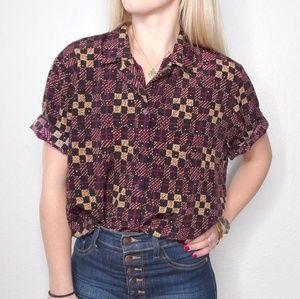 80-90s Vintage Greometric Checkered Blouse 334